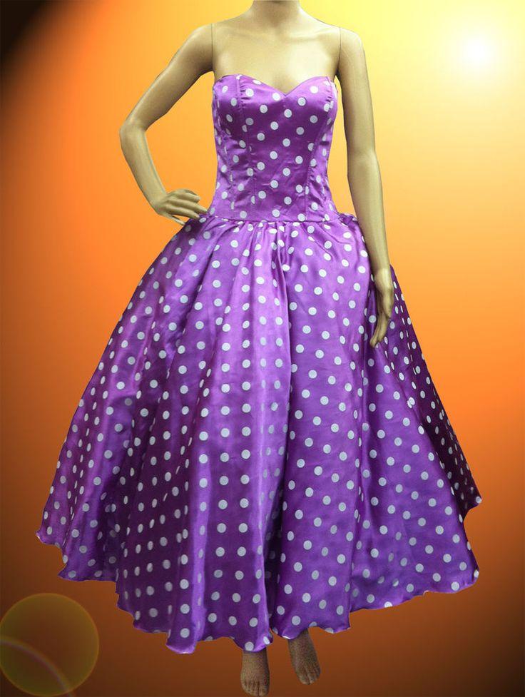 Custom Purple Polka Dot Vintage Dress Show Girl Drag Queen Cabaret Show #Dress