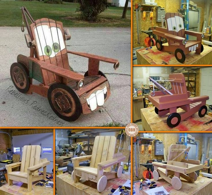 """Have you ever seen the movie """"Cars."""" ? Is Tow-Mater your favorite ? Here is a cool idea for """"Tow Mater"""" Adirondack Chair DIY .   Check instructions--> http://wonderfuldiy.com/wonderful-diy-cool-tow-mater-adirondack-chair/"""