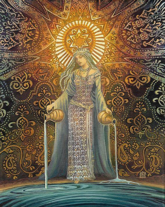 The Star Goddess Of Hope Mythological Tarot Art 8x10 Print