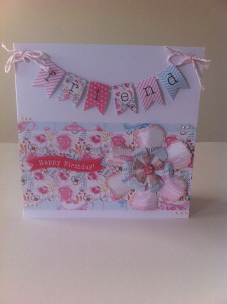 Card made using the Afternoon Tea collection by Craftwork Cards