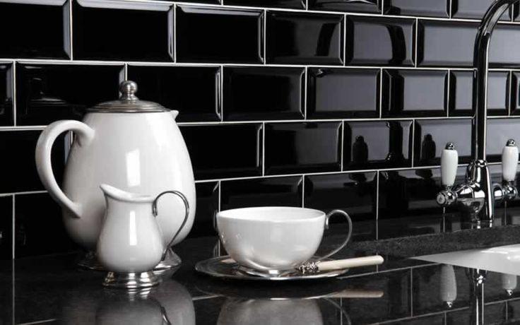 revestimento cozinha preto e branco - Pesquisa Google