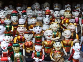Water puppets on display in Hanoi.