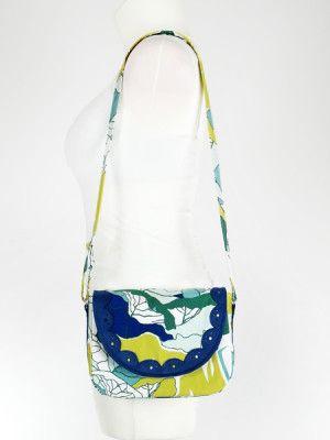 Green - navy blue messenger bag, handmade crossbody bag, scalloped edge / Zielono niebieska torebka na rmię z ozdobną falbanką.