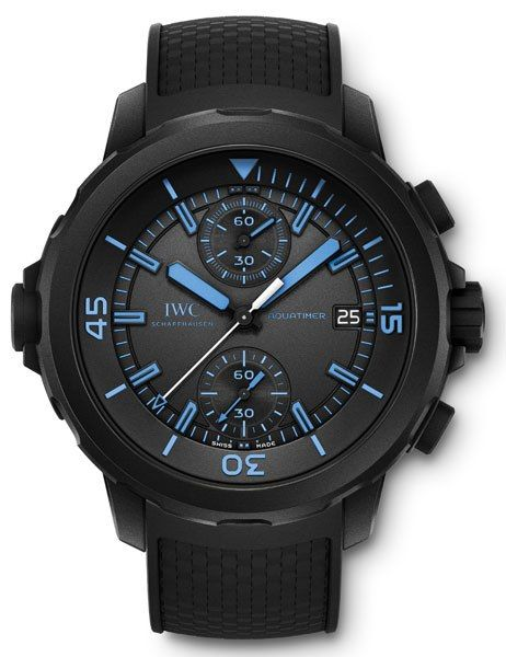 """IWC Aquatimer Chronograph Edition """"50 Years of Science for Galapagos"""" (Men) • This limited-edition watch—only 500 were made—celebrates 50 years of study conducted by the Charles Darwin Research Foundation on the Galapagos Islands. The rugged, rubber-coated stainless-steel timepiece is nearly all black, save for hands and numerals in a bright blue that recalls one of the islands' endangered avian species. $11,200."""