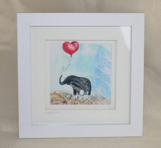 Encaustic wax painted silhoutte elephant and heart balloon by Moo Doodle https://www.facebook.com/moodoodle15