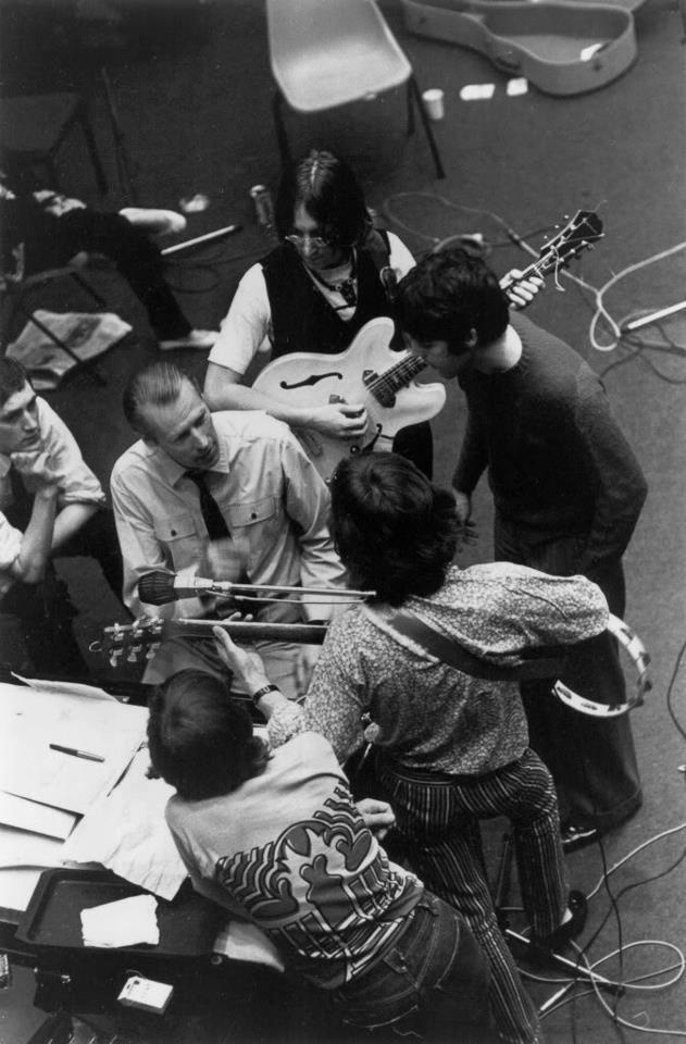 This is such an intriguing picture. The Beatles. RIP George Martin