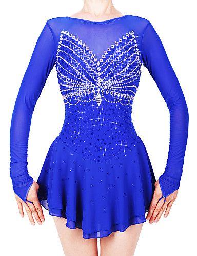 4ad1b6bb5fc8 Figure Skating Dress Women's / Girls' Ice Skating Dress Royal Blue Spandex,  Stretch Yarn High Elasticity Professional / Competition Skating Wear  Handmade ...
