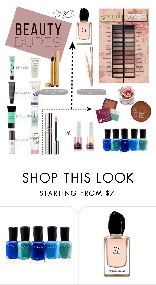 """Beauty Dupes"" by mc-divine ❤ liked on Polyvore featuring beauty, Zoya, Armani Beauty and beautydupes"