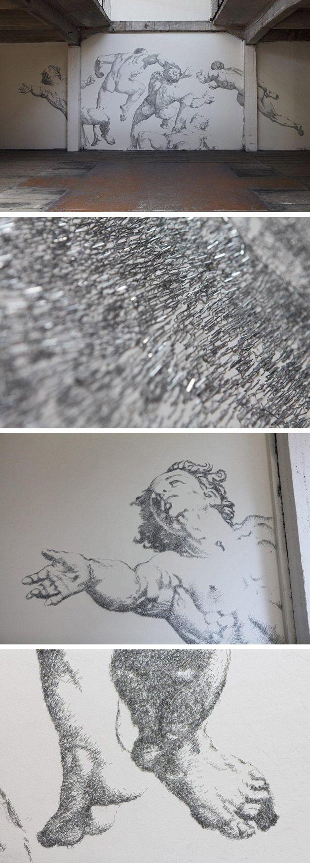 Ilustração gigante usando 450.000 grampos de papel #arts