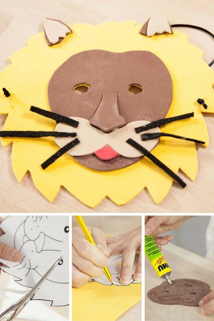 Ruge como un león con esta careta DIY de goma eva. Es sencilla y muy creativa ;) Hazte un disfraz de león y conviértete en el rey de la selva.
