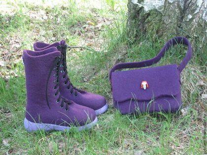 Валенки-ботинки и сумочка для девочки - тёмно-фиолетовый,детская обувь