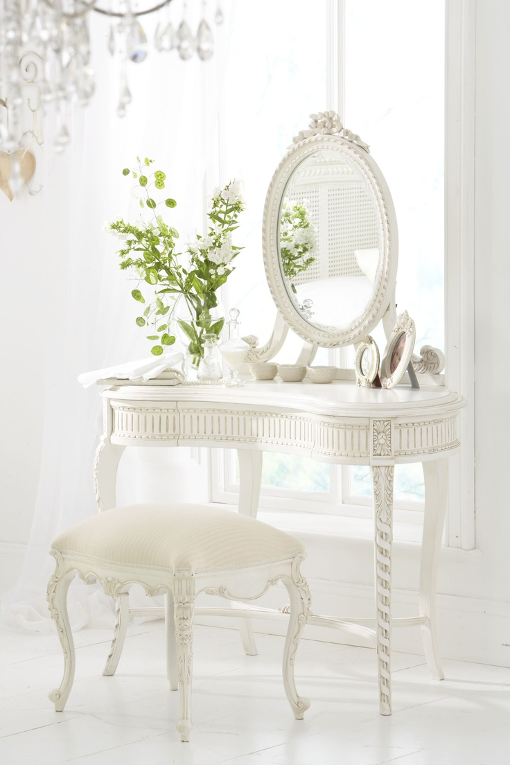 118 best dressing table images on pinterest furniture workshop lola carved wooden dressing table with mirror antique white geotapseo Choice Image
