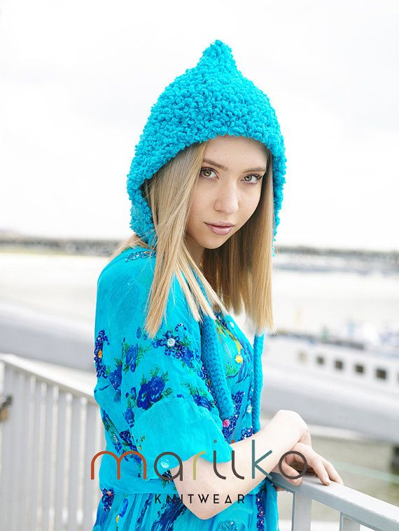 Hand Knit Sky Blue Hood Blue Pixie Hat Unique Light by Mariiko