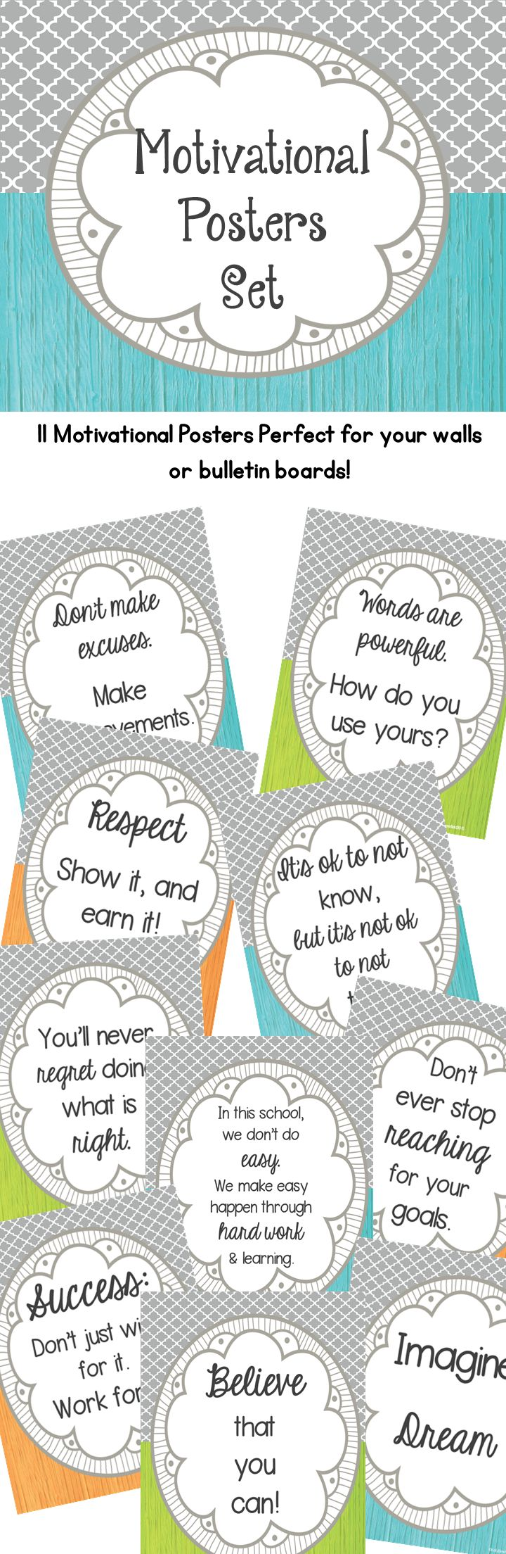 These eleven motivational are bright and colorful which will be the perfect way to decorate your classroom or bulletin boards. Inspire your students, motivate your class, and decorate your room all at the same time! Buy on tpt.