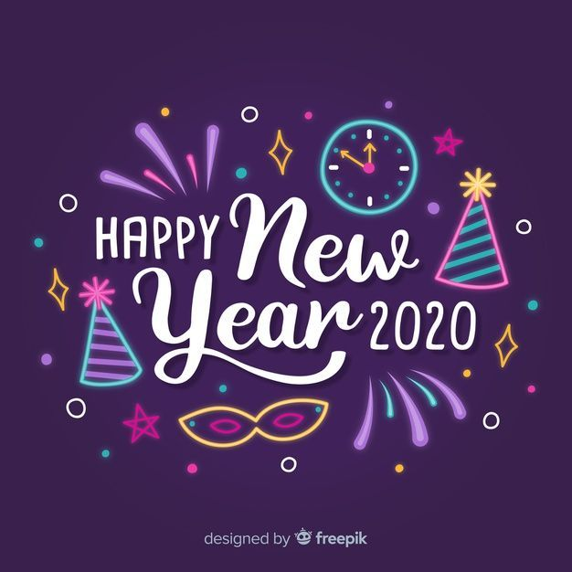 Inscription Happy New Year 2020 With Hats And Clock Download Free