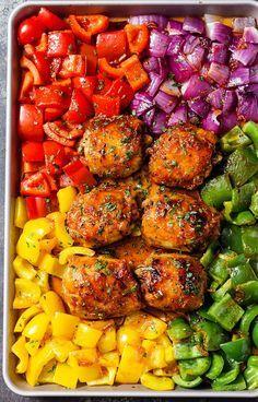 honey chili chicken sheet pan dinner.From Eatwell101.com