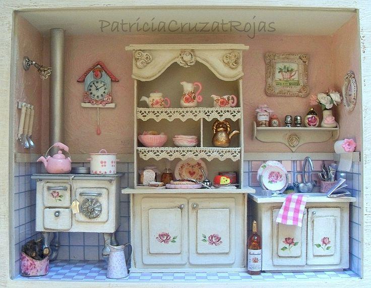 Cuadro cocina con miniaturas estilo shabby chic cocinas - Cuadros shabby chic ...