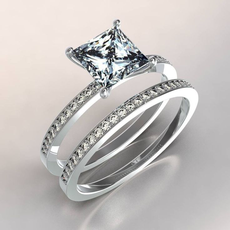 18k White Gold Solitaire Diamond Engagement Rings Princess Cut 1Ct Wedding Set