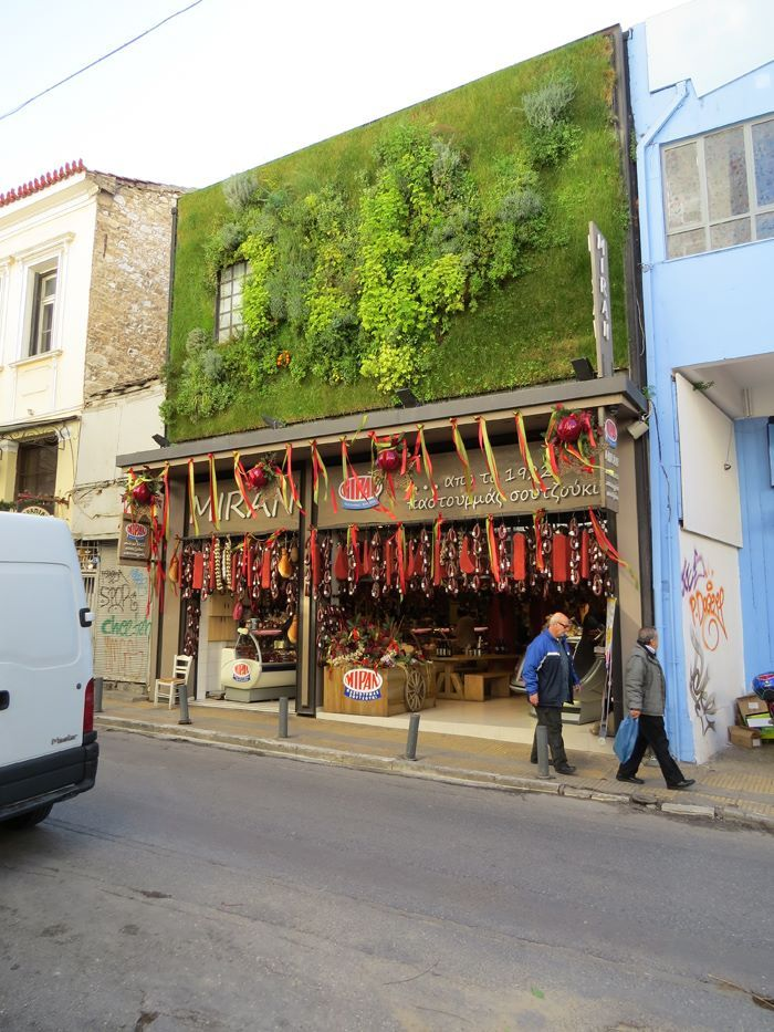 Green Wall At Armenian Charcuterie | Athens, Greece