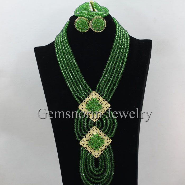 Green Nigerian Beads for Wedding AfrIcan Green Beads Jewelry Set Crystal Necklace Bracelet Stud Earrings Set Free Shipping WB752