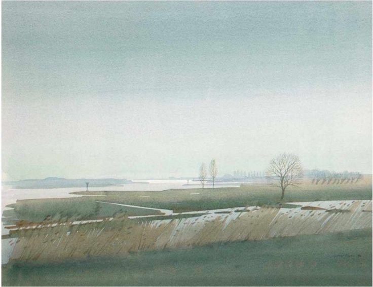 "Neven, Gerrit (geb. 1939) ""Seenlandschaft"", Aquarell, signiert und datiert '82, 40×51 cim, hinter Gl — Aquarelle, Gouachen, Zeichnungen, Pastell…"