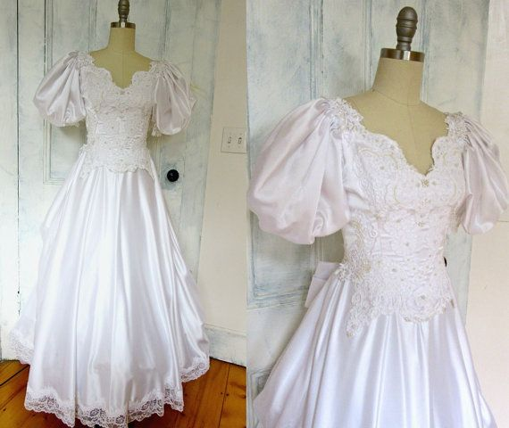XS White Wedding Gown  Soft Satin  by stateandmainvintage on Etsy