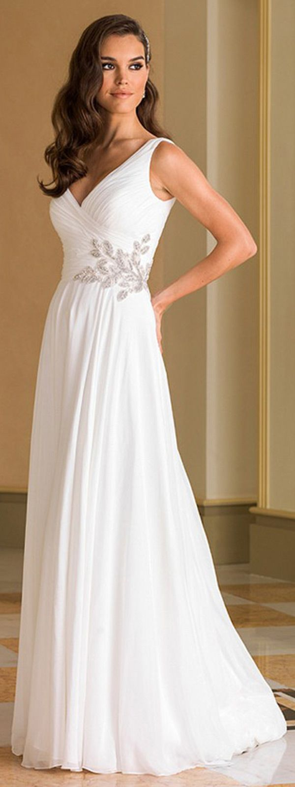 flowing chiffon stretch satin v neck a line wedding dresses with pleats