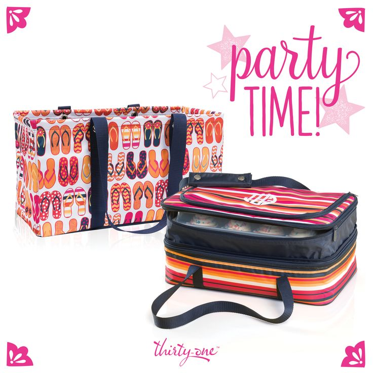 Thirty-One perfect party duo! Our Large Utility Tote & Perfect Party Set make traveling to parties easier this summer. Check out my VIP group for more ideas @ www.facebook.com/groups/nicoleflyte
