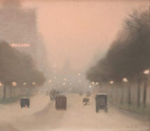 Clarice Beckett (Australia 21 Mar 1887 – 06 Jul 1935) | Evening, St Kilda Road (circa 1930) | oil on board.