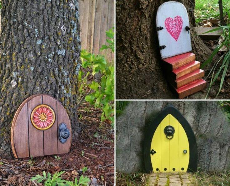 décoration pour jardin à faire soi-même - portes de gnomes originales et décoratives