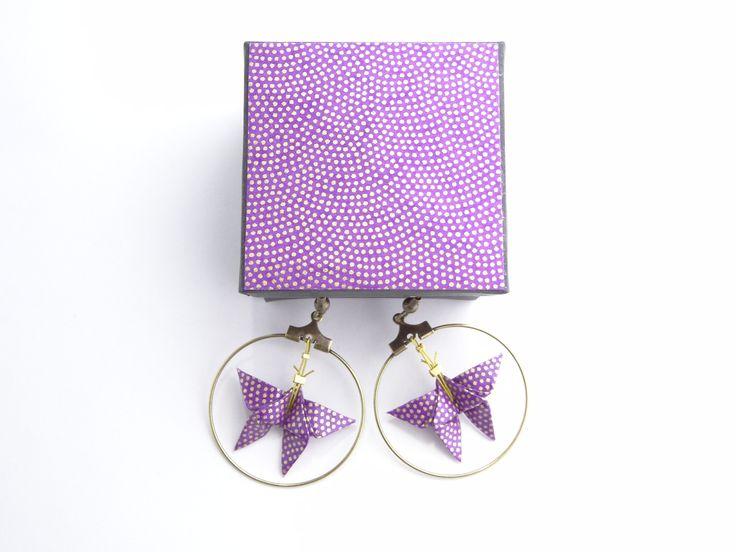 Boucles d'oreille papillons origami papier washi : Boucles d'oreille par phacelie