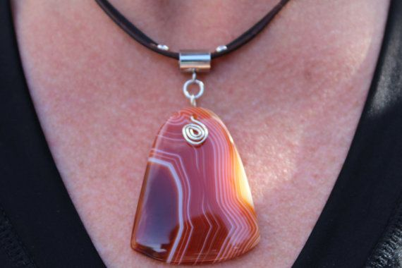 Red Stone Necklace Red Banded Agate by PepperPotLeatherShop, $50.00