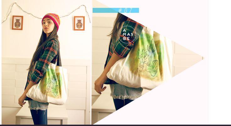Catalogo AMASBE INVIERNO 2015 + bolso de tela ecológica, pintado a mano+