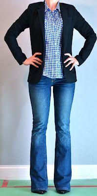 Outfit Posts: blue plaid shirt, black jacket, jeans (Like the plaid with blazer- makes for a cute contrast style, well-fitted denim)