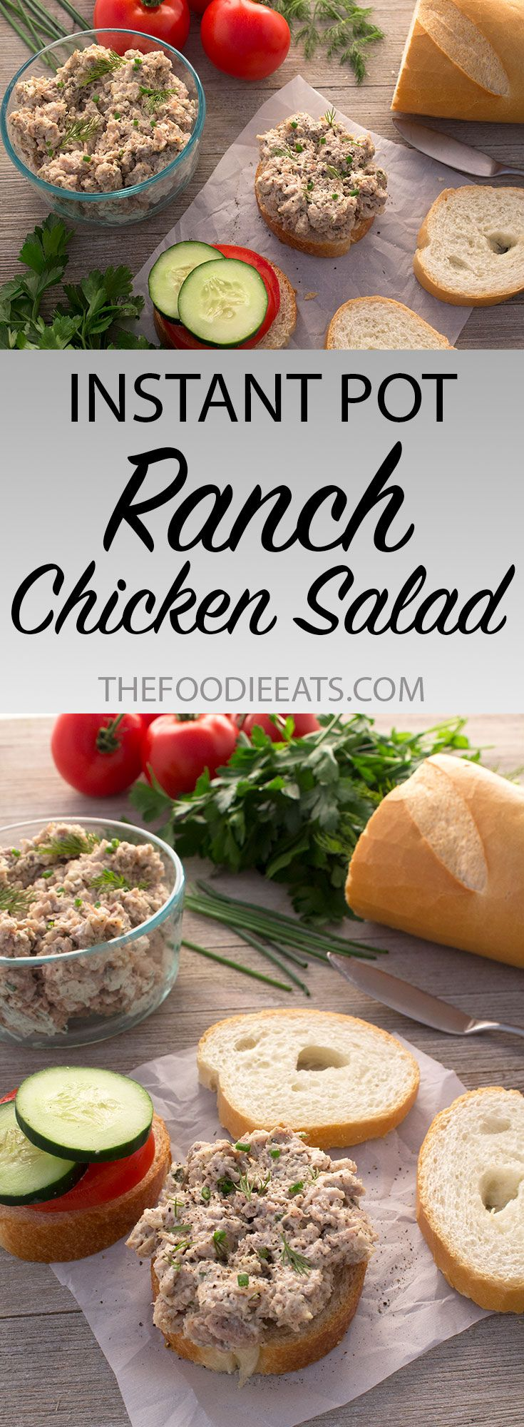 Pressure Cooker / Instant Pot Ranch Chicken Salad via The Foodie Eats