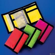 Neon velcro wallets. Awesome. I had a few of these, including a Mickey Mouse one (not neon, but it was velcro!)