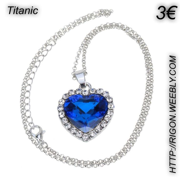 COLLANA CUORE HEART OF OCEAN DIAMANTE BLU TITANIC 3€