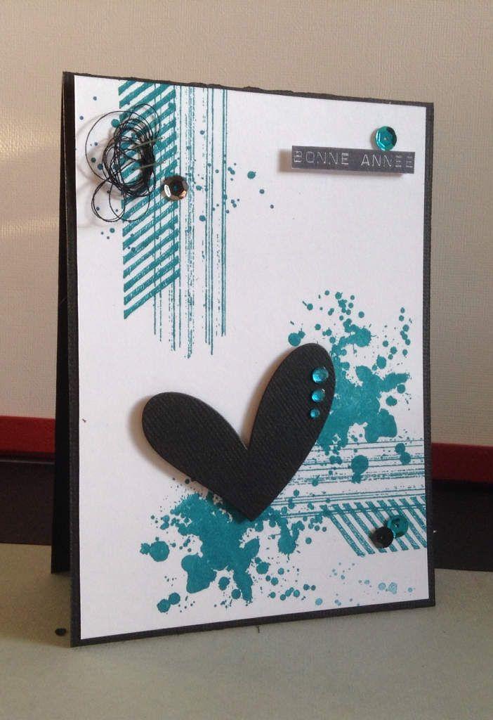 Une petite carte avec mes nouveaux tampons Stampin up, tampons bonne année de simplygraphic et die de Kesi'art !!