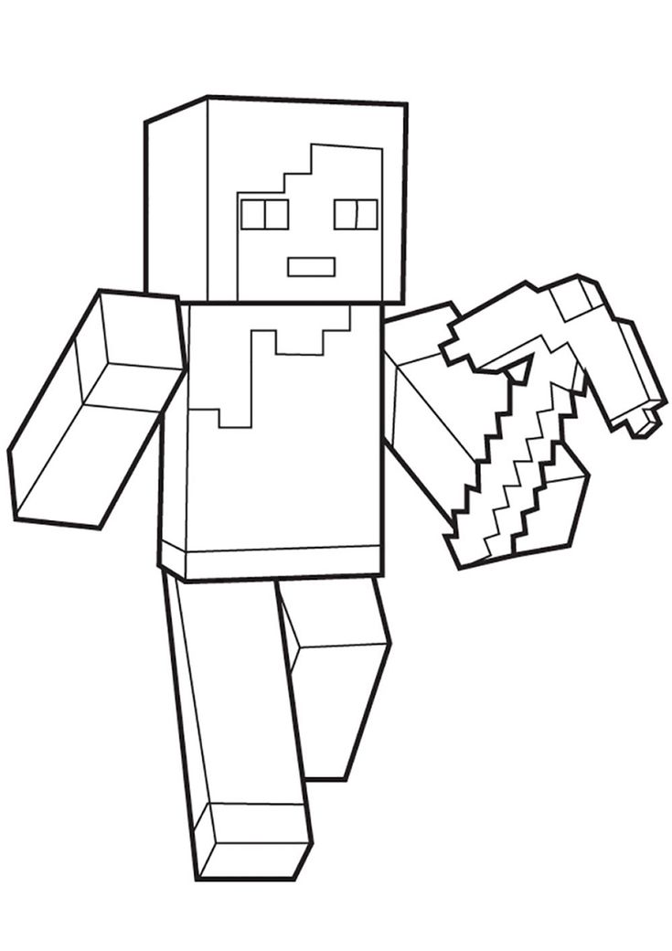 Alex with a Pickaxe | Coloring pages, Minecraft coloring ...