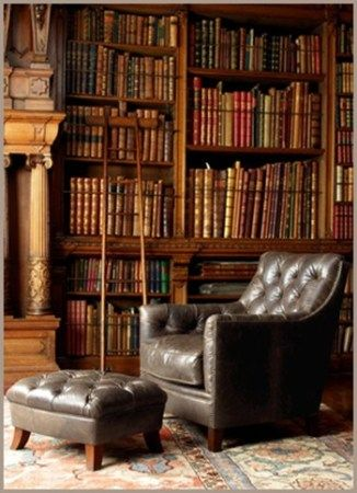 Library Books Leather Chair Study Office Interior Design Home