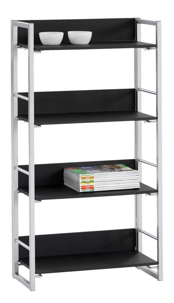 Boekenkast GELSTED 4 schappen zwart/zilv | JYSK
