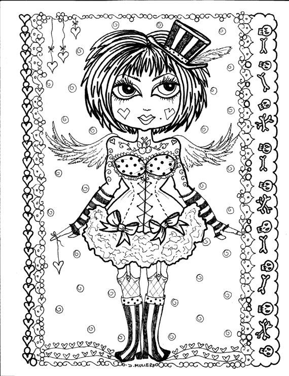 Instant Download 5 Coloring Pages Gothic Angels By ChubbyMermaid