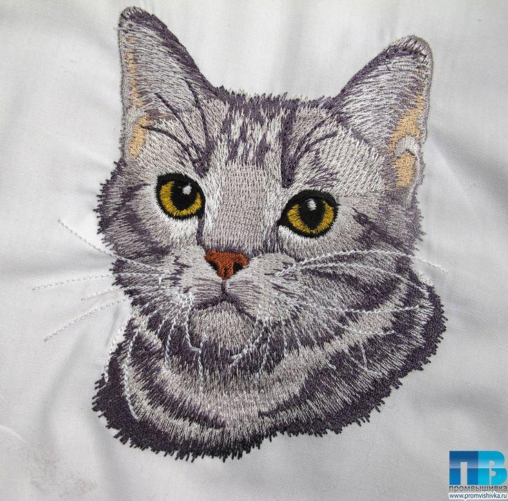 Кошка, вышитая по фотографии #embroidery #cat #кошки #вышивка