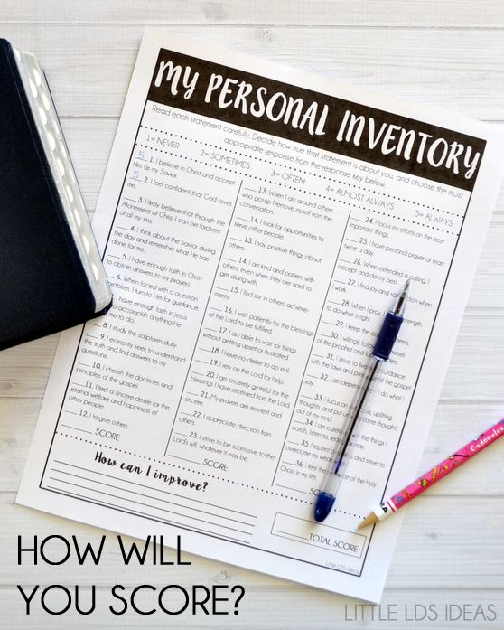 Do you need to take a Spiritual Inventory? Use this great Personal/ Spiritual Inventory printable from Little LDS Ideas to help evaluate yourself.