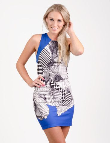 Evenden dress from www.belleroad.co.nz Printed bodycon party dress - perfect for your 21st or paired with a leather jacket night in town