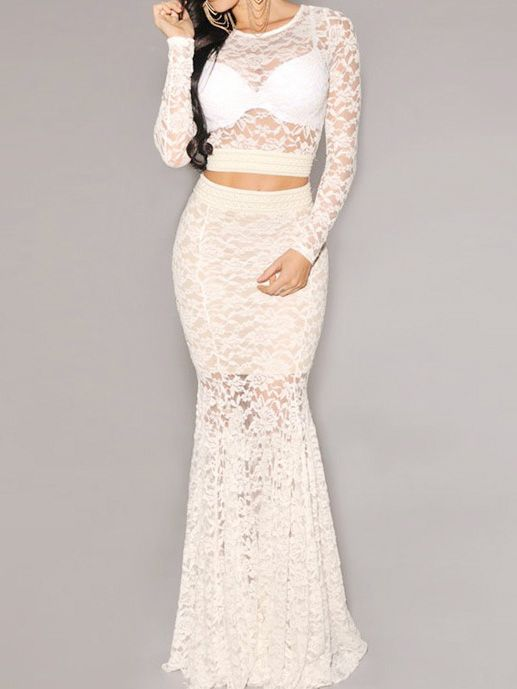 Beige Laced Perspective Top with Maxi Skirt
