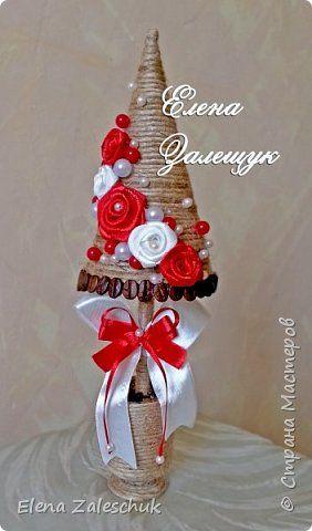 Поделка изделие Новый год Рождество Моделирование конструирование Мои елочки Бусины Картон Ленты Шпагат фото 1