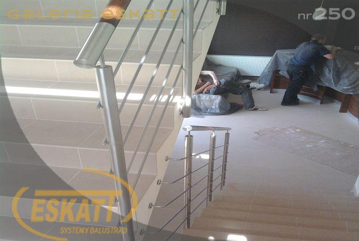 Stainless steel balustrade. Stainless steel horizontal filling. #balustrade #eskatt #construction #stairs