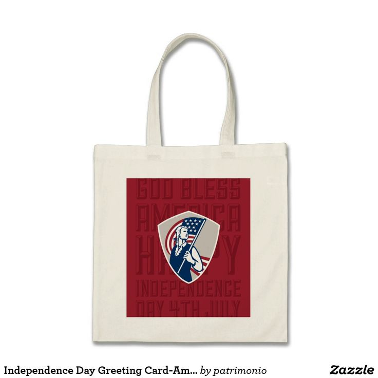 Independence Day Greeting Card-American Patriot Ho. Tote bag with an illustration of an American patriot holding a stars and stripes flag set inside a shield done in retro style. #IndependenceDay #4thofJuly #totebag