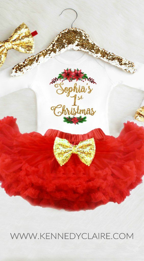 9f828448a Baby Girl 1st Christmas Outfit Personalized First Christmas Outfit Baby's  First Christmas Girl My 1st Christmas Newborn Christmas Outfit